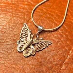Jewelry - ☀️NEW Sterling silver wire wrapped butterfly